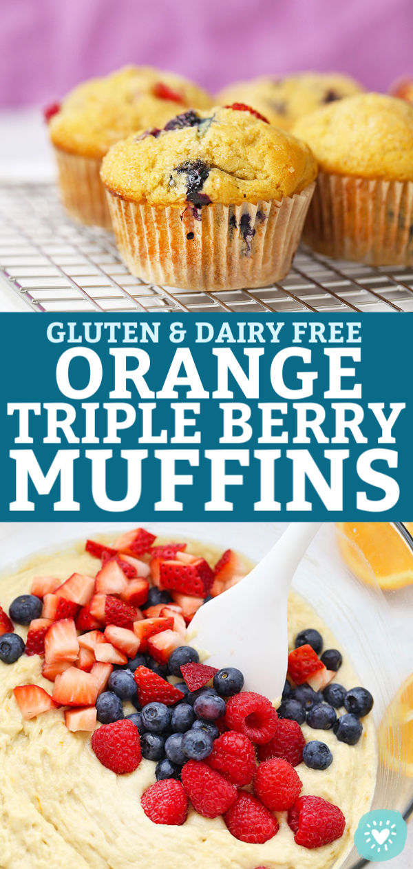 Close up view of Gluten Free Orange Triple Berry Muffins Cooling on a Cooling Rack from One Lovely Life