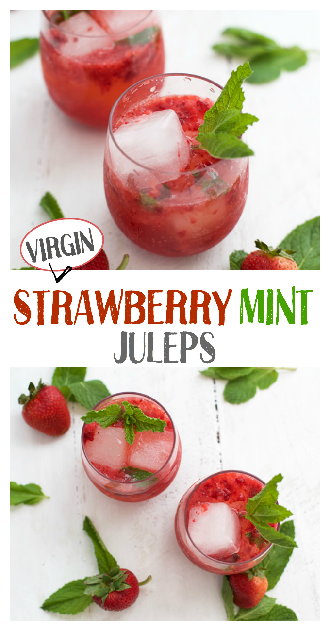 These Virgin Strawberry Mint Juleps are the perfect mocktail for Derby Day! Our kids love these (and we do too!)