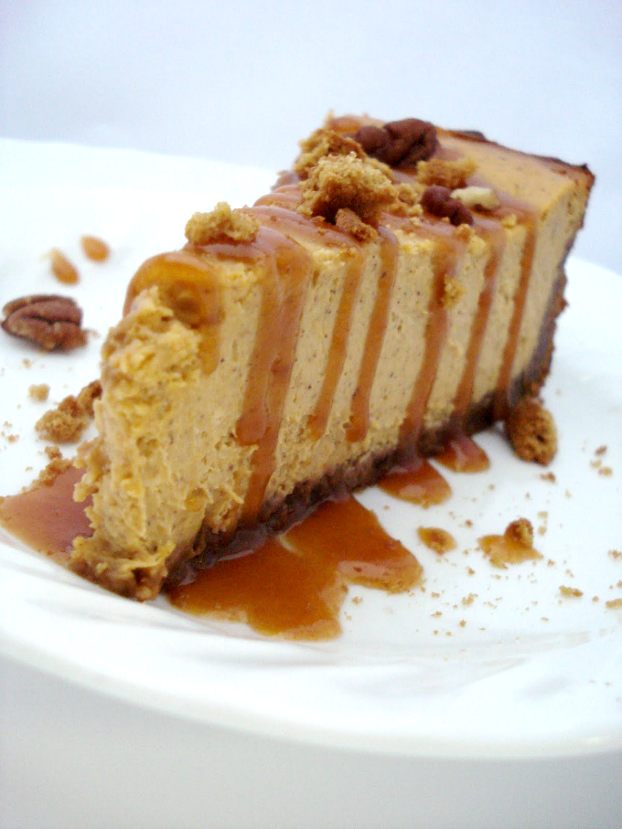 Pumpkin Cheesecake with Gingersnap Crust and Caramel Drizzle // One ...