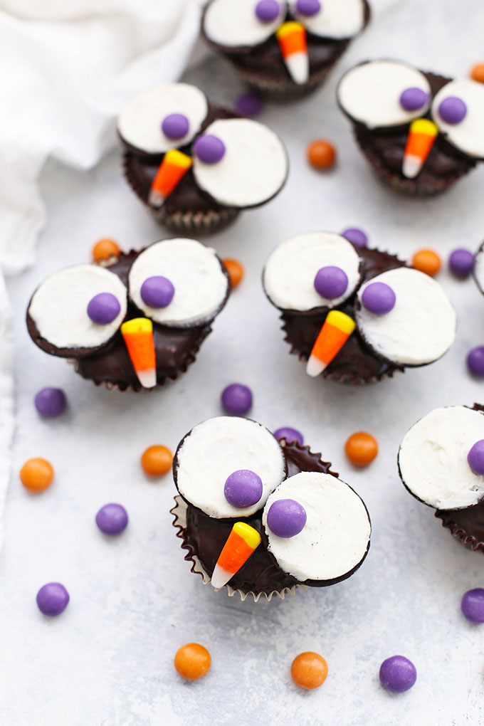 Front view of gluten free owl cupcakes