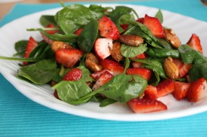 Fresh Strawberry Salad with Tangy Vinaigrette and Candied Almonds // One Lovely Life
