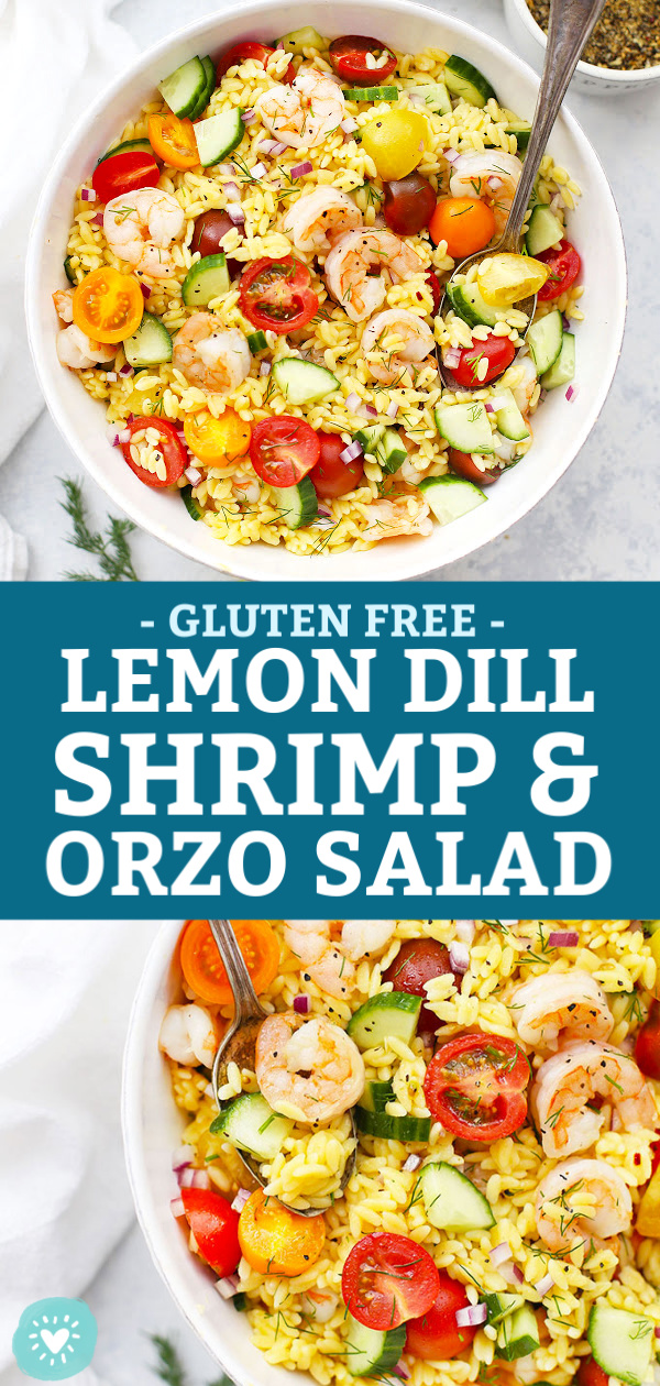 Collage of images of gluten free lemon dill shrimp and orzo salad from One Lovely Life