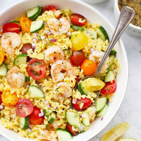 Close up view of Gluten Free Lemon Dill Shrimp and Orzo Salad from One Lovely Life