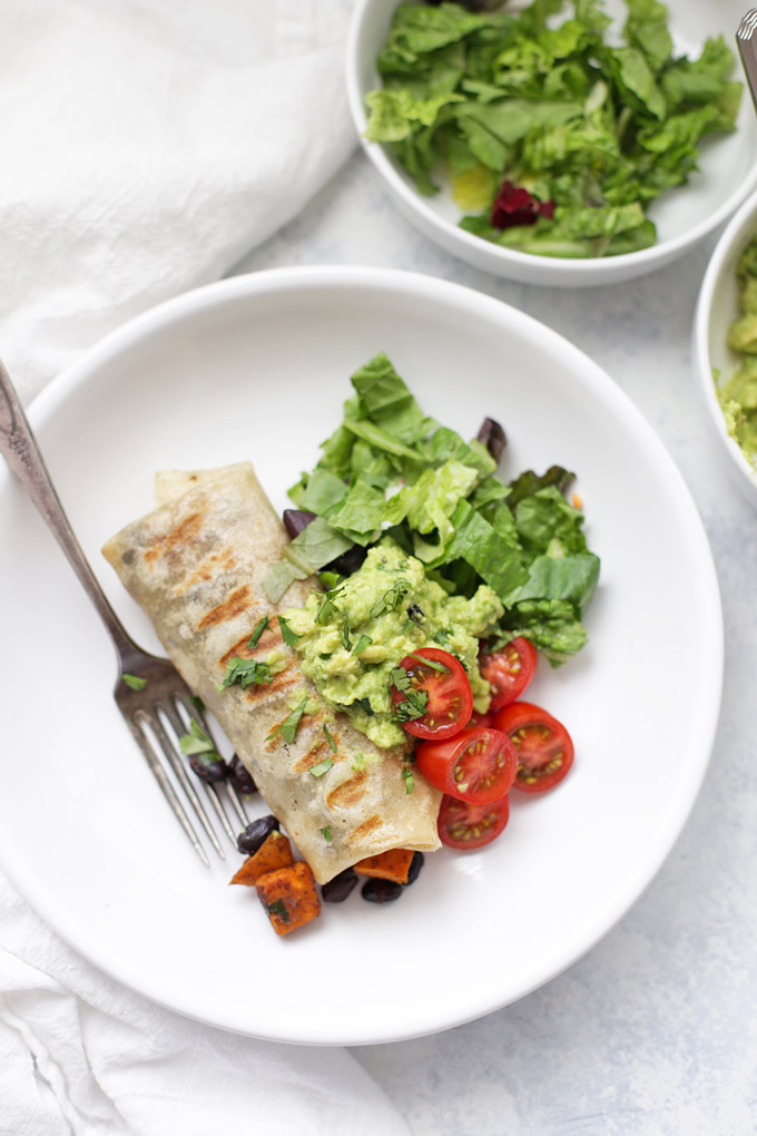 This healthy dinner is done in no time! Sweet Potato and Black Bean Burritos. (gluten free and vegan!)