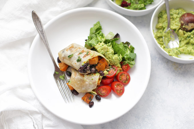Sweet Potato Black Bean Burritos--Easy, healthy, and quick. All my favorites in one!
