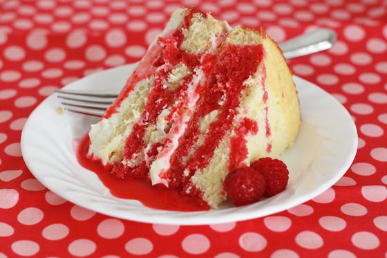 Lemon Cream Cake with Raspberry Sauce // One Lovely Life