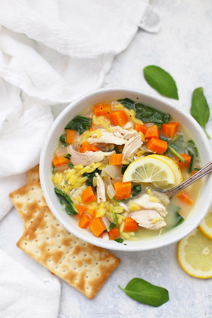 Gluten Free Lemon Chicken Orzo Soup - Our whole family LOVES this one!
