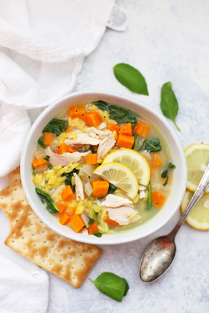 Gluten Free Lemon Chicken Orzo Soup - This is such a yummy twist on chicken noodle soup!