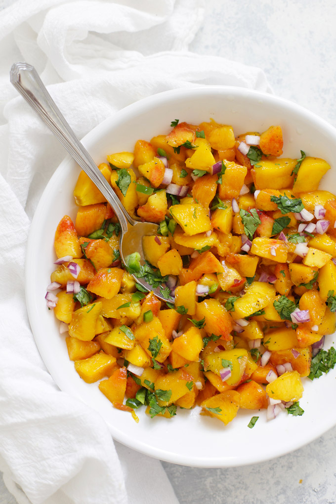 Fresh Peach Salsa - It's SO GOOD in rice bowls, with fish, chicken, or even stirred into quinoa for a quick salad!