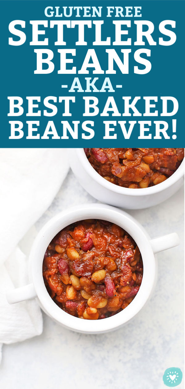 "Two white bowls of Settlers Beans (Settlers Baked Beans) from One Lovely Life with text that reads ""Gluten Free Settlers Beans aka Best Baked Beans Ever!"""