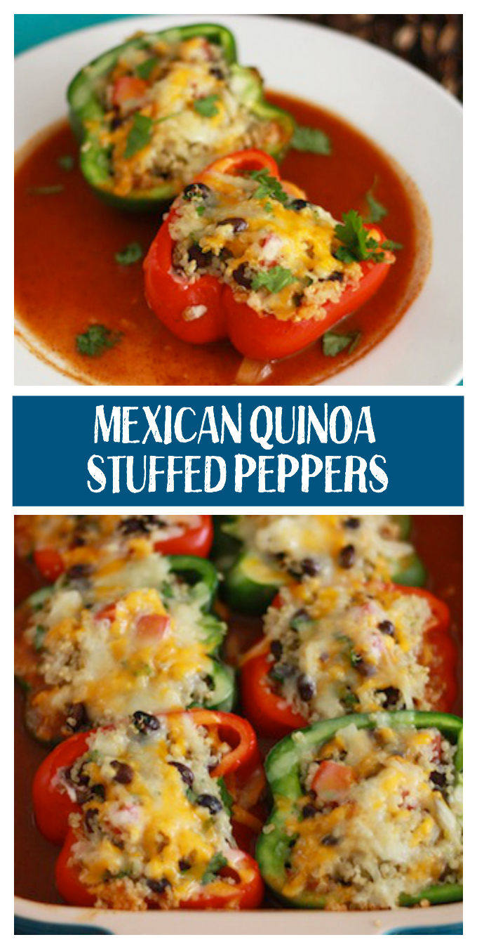 These Mexican Quinoa Stuffed Peppers are such an easy family dinner.  The real secret is the homemade enchilada sauce.