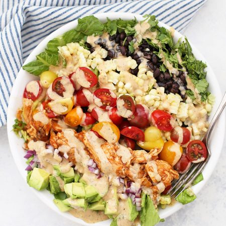 BBQ Ranch Chicken Salad - We love the fresh veggies, barbecue chicken, and creamy BBQ Ranch in this salad! (Gluten free, paleo friendly)