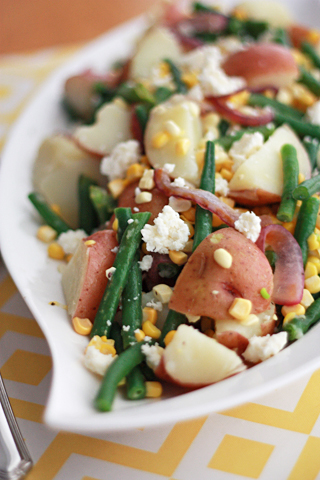 Green Bean, Corn, and Potato Salad with Lemon Brown Butter Sauce // One Lovely Life