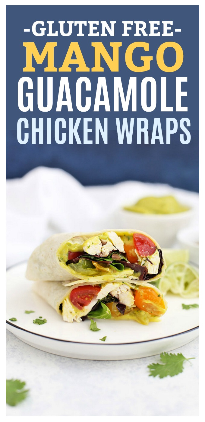 Mango Guacamole Chicken Wraps - These fresh, easy chicken wraps are such an easy dinner. You'll love the mango guacamole! (Gluten Free, Dairy Free)