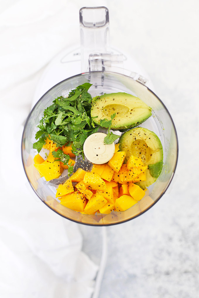 Everything you need to make mango guacamole. Try this in my mango guacamole chicken wraps! (Gluten free, dairy free)