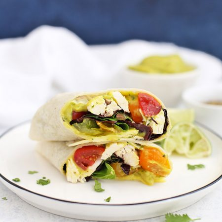 Mango Guacamole Chicken Wraps - Such a fresh, easy gluten free lunch or dinner!