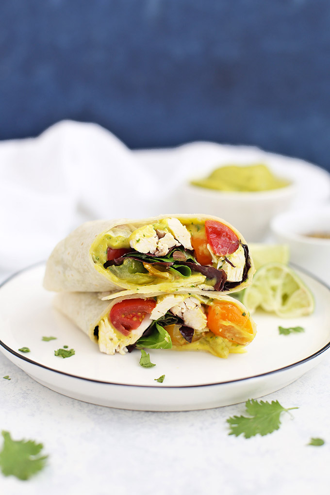 Mango Guacamole Chicken Wraps - Such a fresh, easy gluten free lunch or dinner!