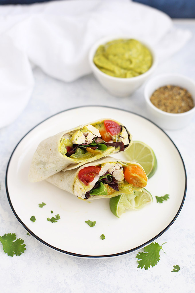 Mango Guacamole Chicken Wraps - These gluten free wraps are such a fresh lunch or easy dinner. You'll LOVE the mango guacamole!