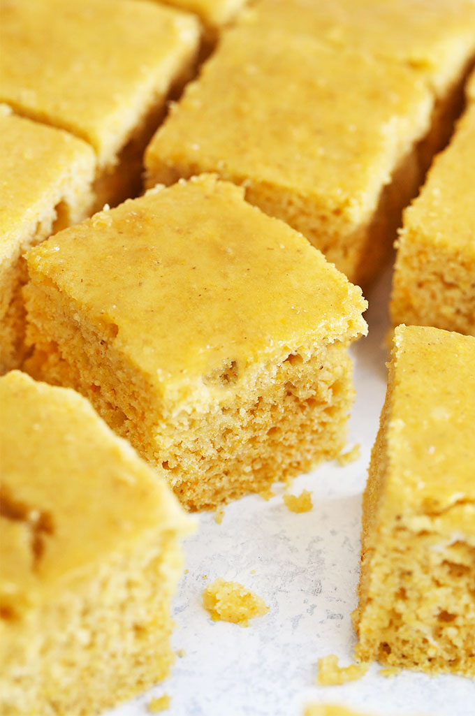 Light, fluffy, sweet Maple Cornbread from One Lovely Life