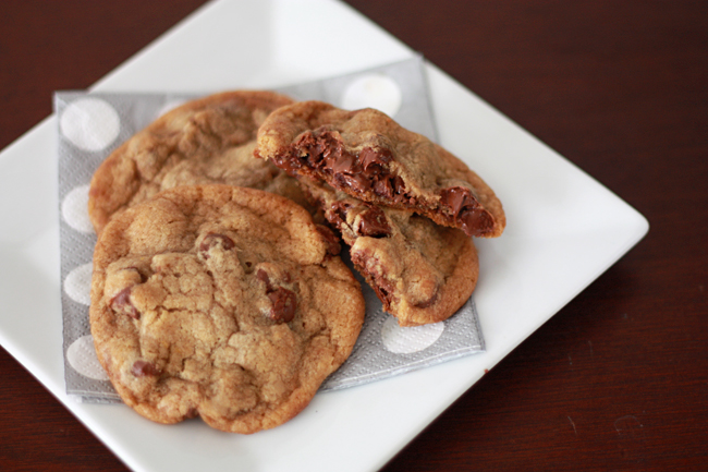 Nutella Stuffed Browned Butter Chocolate Chip Cookies // One Lovely Life