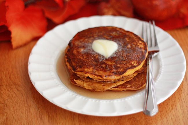 Light and airy pumpkin buttermilk pancakes from www.onelovelylife.com