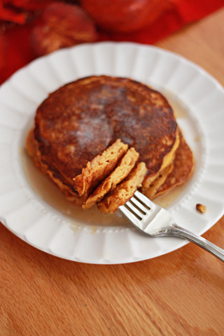 Serve up a stack of Pumpkin Buttermilk Pancakes from www.onelovelylife.com