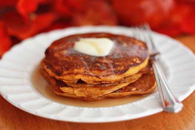 Gorgeous pumpkin buttermilk pancakes from www.onelovelylife.com