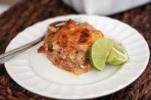 vegetarian green chile pinto bean casserole (gf)