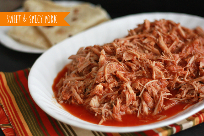 Slow Cooker Sweet & Spicy Pork (Cafe Rio Copycat) - Awesome in burrito bowls, taco salad, or tacos!