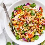 Gluten Free & Paleo Friendly Thai Chopped Salad with Peanut or Cashew Sauce Drizzle from One Lovely Life