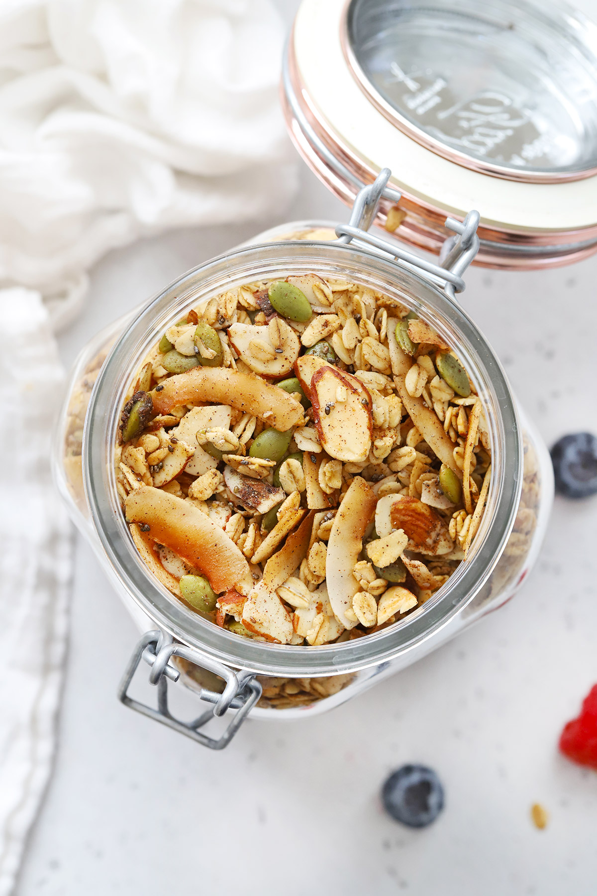 Overhead view of Jar of Gluten Free Warm Spiced Granola