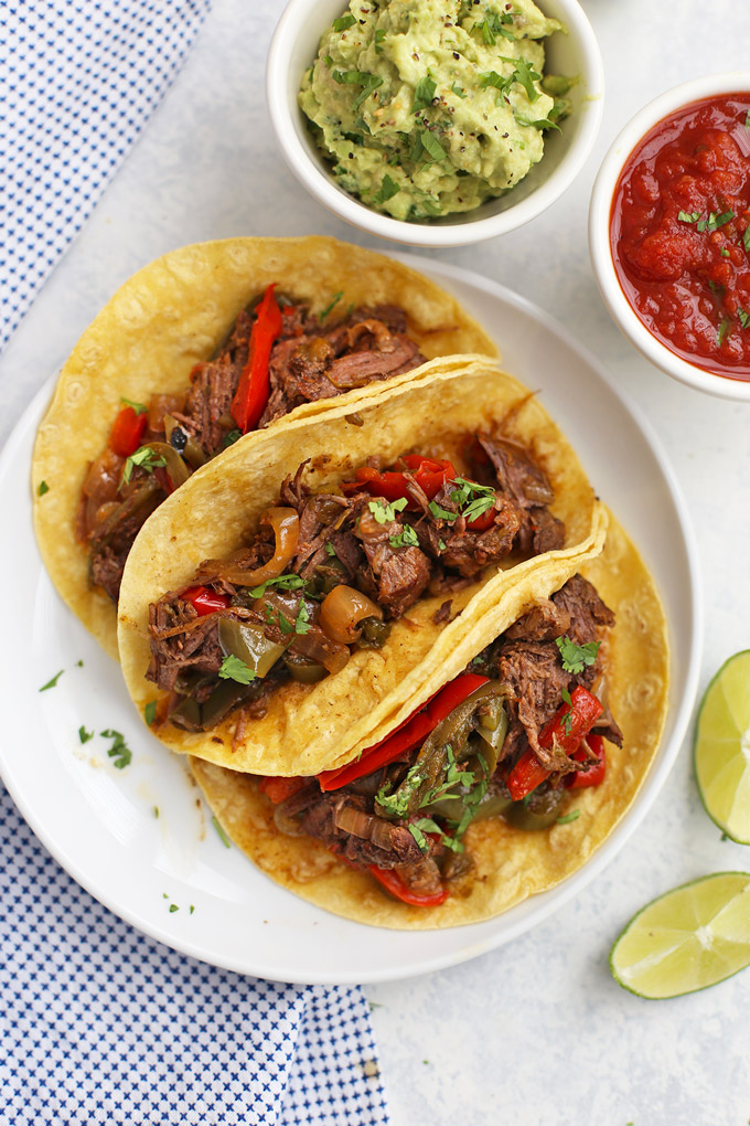Slow Cooker Beef Carnitas - tender, flavorful beef carnitas. Perfect for tacos, burrito bowls, taco salads and more!