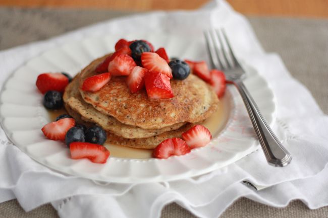 Paleo Almond Poppy Seed Pancakes // One Lovely Life