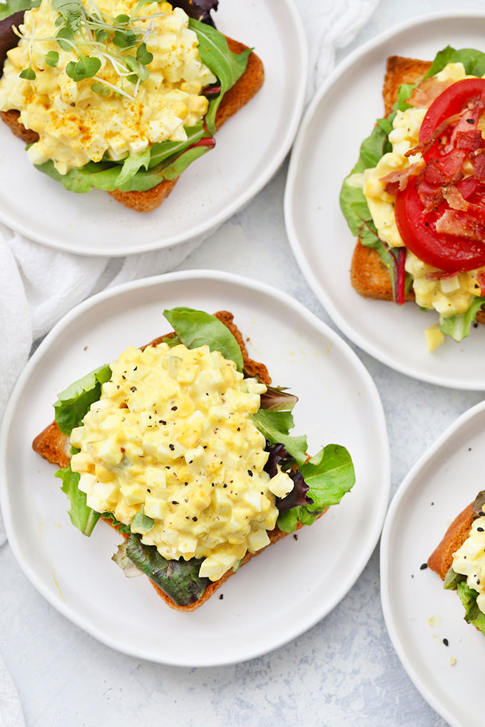4 Open Faced Egg Salad Sandwiches on Toast from One Lovely Life