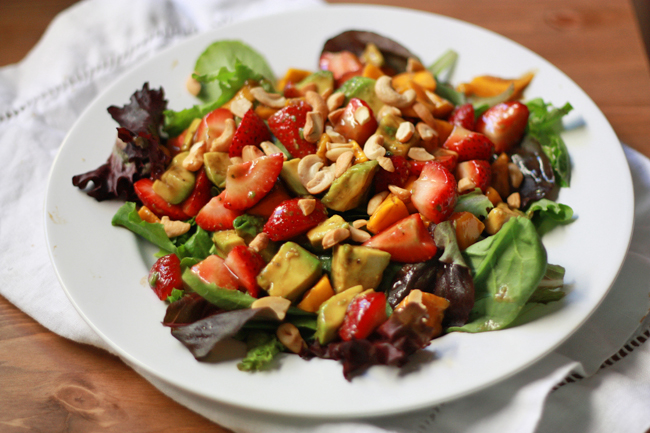 We can't get enough of this Summer Salad with Balsamic Lime Dressing. Gluten free & Paleo. From www.onelovelylife.com