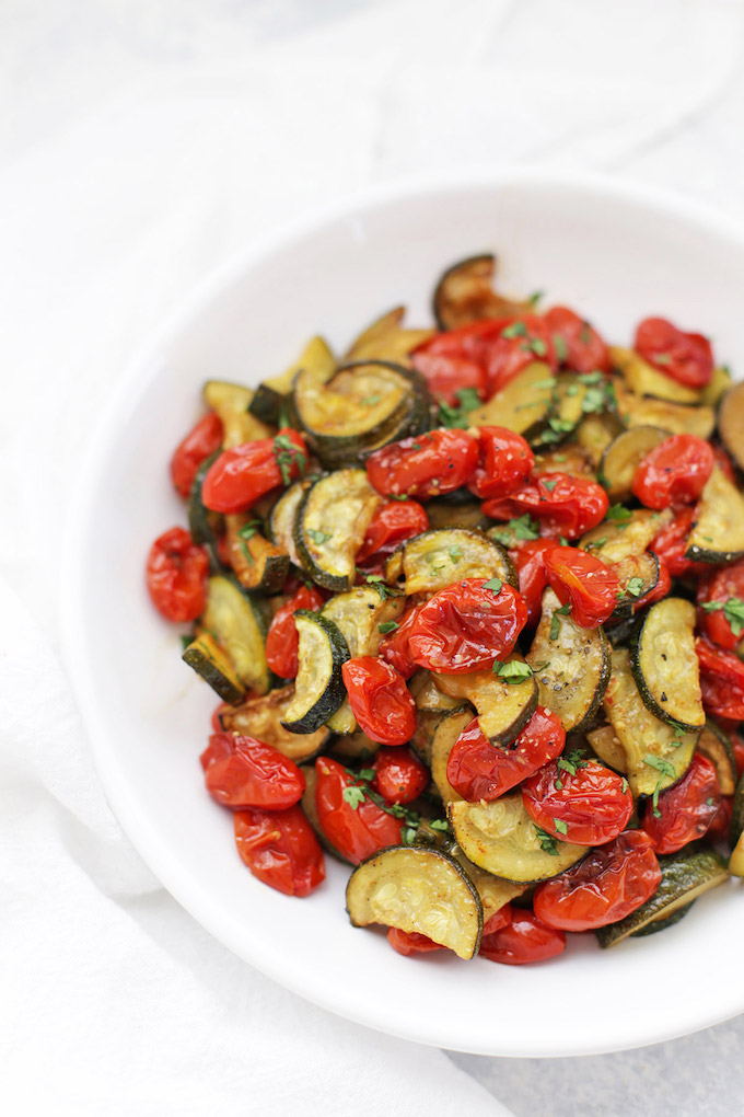 Simply Roasted Zucchini and Tomatoes - This method is AWESOME! SO many ways to flavor them and use them!