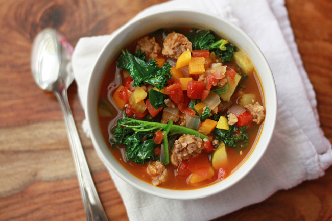 Paleo Sausage and Vegetable Soup. We can't get enough of this on a cold day!