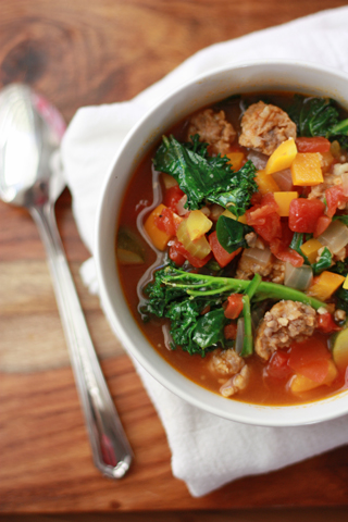 Paleo Minestrone - This Sausage and Vegetable Soup is delicious! from www.onelovelylife.com