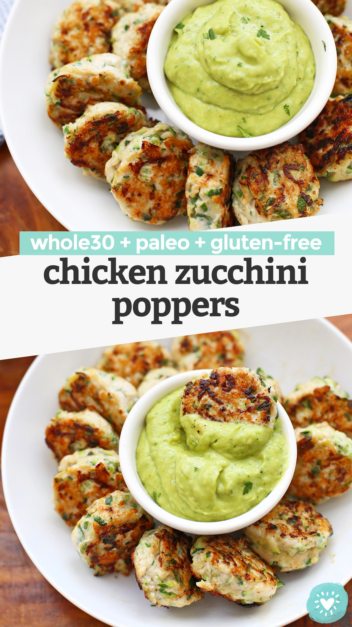 Paleo & Whole30 Chicken Zucchini Poppers - These chicken zucchini meatballs are so easy and delicious! Perfect for meal prep and clean eating! // keto meatballs // paleo meatballs // chicken meatballs // paleo appetizer // paleo meal prep// meal prep lunch // meal prep recipe // #whole30 #keto #paleo #cleaneating #mealprep #chicken #meatballs #appetizer #chickenzucchinipoppers #poppers #lowcarb