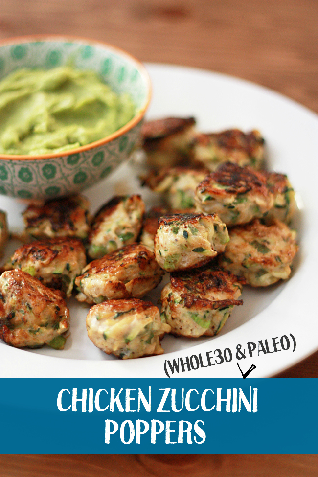 Chicken Zucchini Poppers (Meatballs) with Guacamole from One Lovely Life