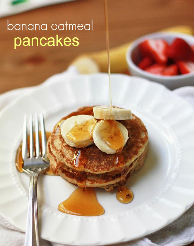 Gluten Free Banana Oatmeal Pancakes // One Lovely Life
