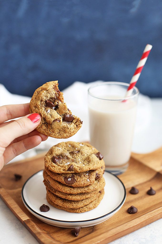Almond Flour Chocolate Chip Cookies - Paleo & Gluten Free! These are crispy on the edges and soft and chewy in the center. SO GOOD!