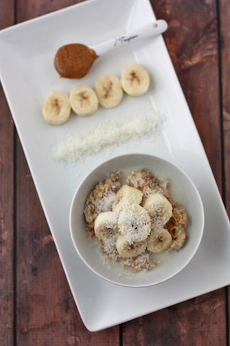 Monkey Oatmeal with Bananas, Almond Butter, and Coconut // One Lovely Life