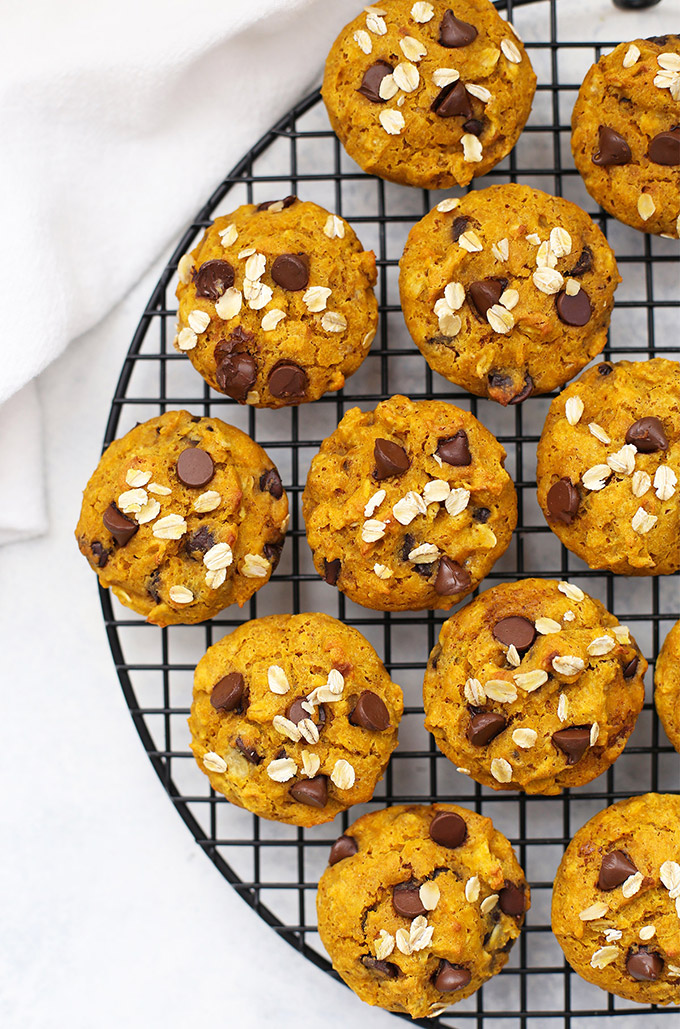 Cooling Rack with Gluten Free Pumpkin Chocolate Chip Muffins