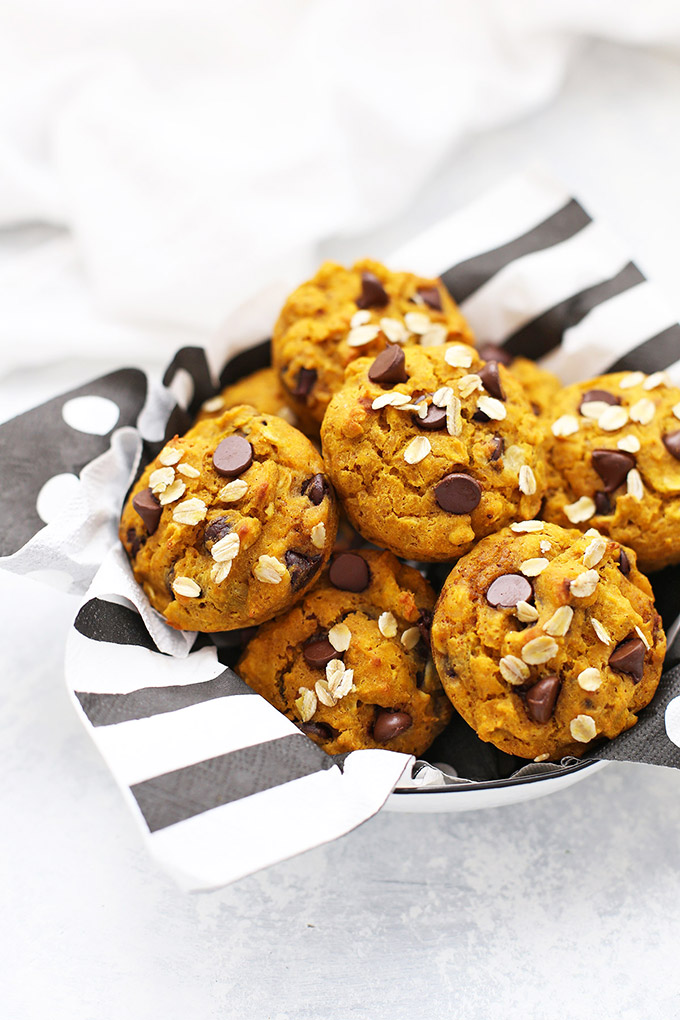 Basket of Gluten Free Pumpkin Chocolate Chip Muffins