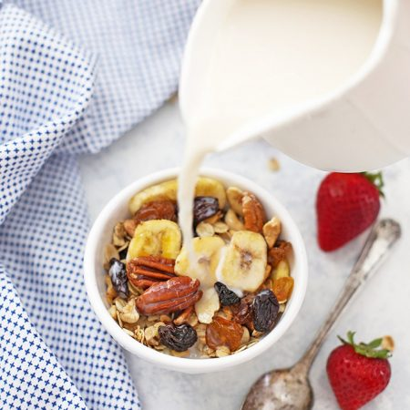 Trail Mix Granola - Gluten free, vegan, and PERFECTLY sweetened. We love this!