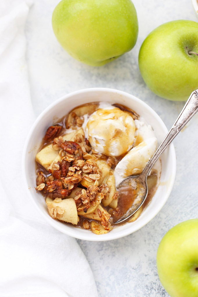 Gluten Free Cider Caramel Apple Crisp - This caramel sauce is made from apple cider! (SO GOOD. And vegan, too!)