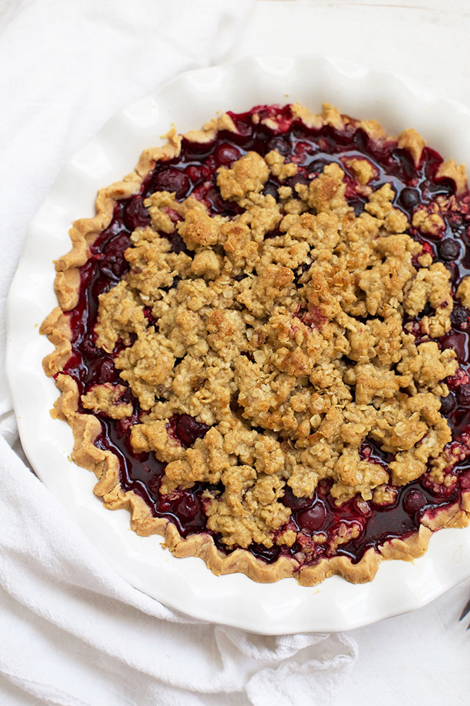 Overhead view of gluten free Triple Berry Crumble Pie