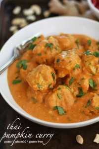 Whole30 Thai Pumpkin Curry with Chicken Zucchini Meatballs // One Lovely Life