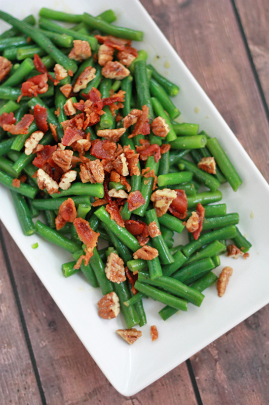 Honey Mustard Green Beans with Bacon and Candied Pecans // One Lovely Life